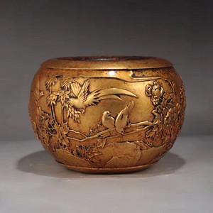明精铸铜胎鎏金花鸟纹钵式炉