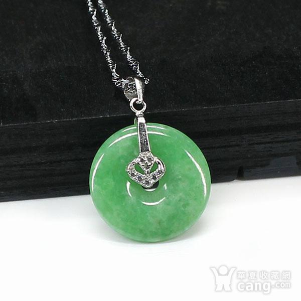 满绿翡翠平平安安挂件 银挂扣0117图2