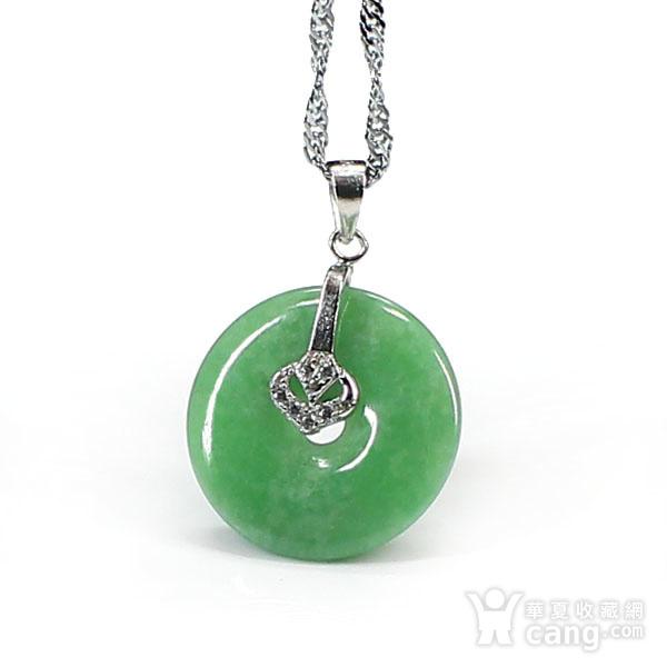 满绿翡翠平平安安挂件 银挂扣0117图3