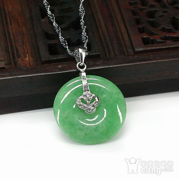满绿翡翠平平安安挂件 银挂扣0117图4