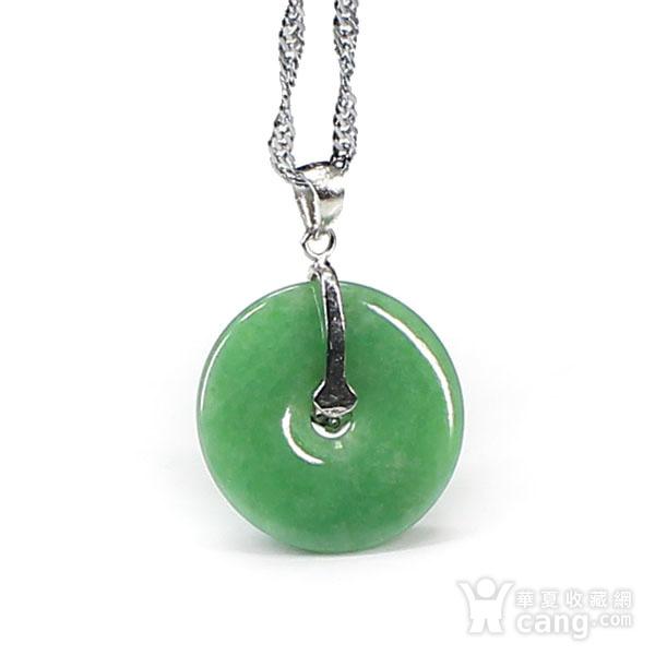 满绿翡翠平平安安挂件 银挂扣0117图6