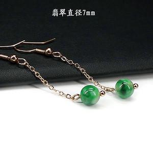 翠绿翡翠圆珠耳饰 银镶嵌1264