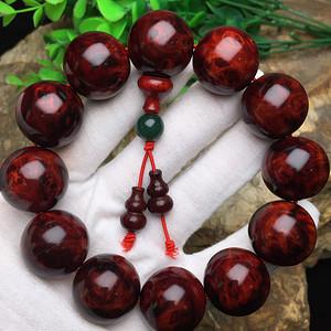 联盟 收藏级印度小叶紫檀鸡血红全泥料满樱子瘤疤高油密2.0手串