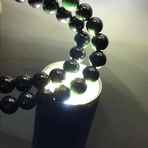 联盟珠宝  天然缅甸A货翡翠   墨翠6mm圆珠项链 手链两用款