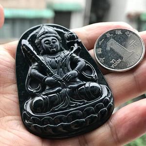 联盟珠宝  缅甸天然A货翡翠 墨翠虚空藏菩萨挂件