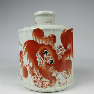 联盟 K1922矾红太师少保圆形茶叶罐