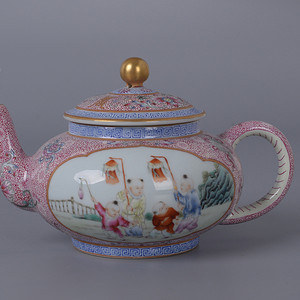 欧洲回流粉彩人物茶壶