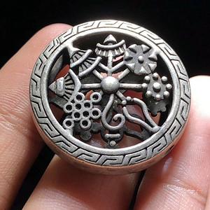 藏传 晚清 铜鎏银 佛教八宝 背云 手工錾刻双面工艺