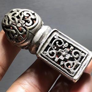 清代 纯银 镂空透雕 缠枝莲花印章 手工錾刻 工艺精美