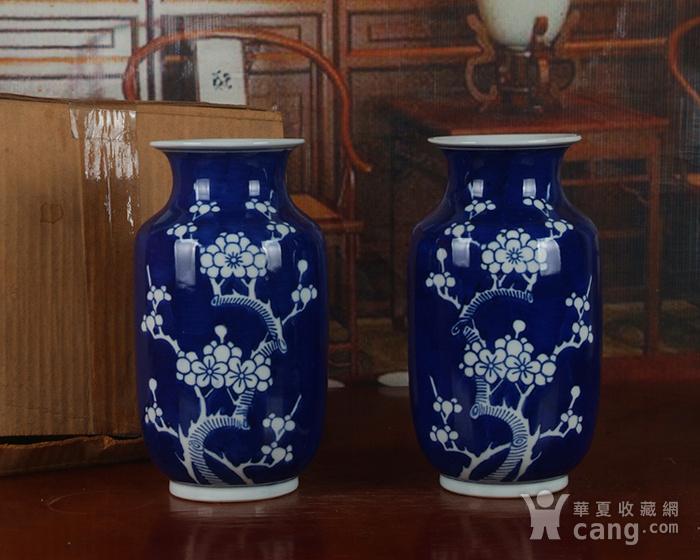 景德镇十大瓷厂老厂货瓷器 冰梅冬瓜瓶一对图4