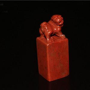 联盟  105.6克  寿山 高山朱砂红石 古兽 印章