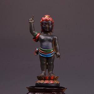 清琉璃彩绘鎏金太子佛