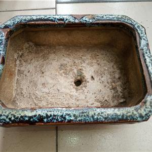 民国蓝釉水仙盆
