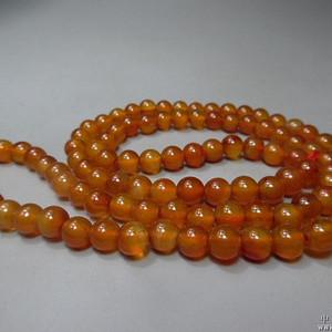 民国早期蒙古族橘红玛瑙珠子一串