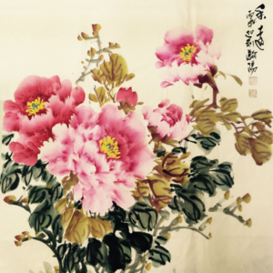 著名花鸟画家 王瀚阳  四尺斗方牡丹