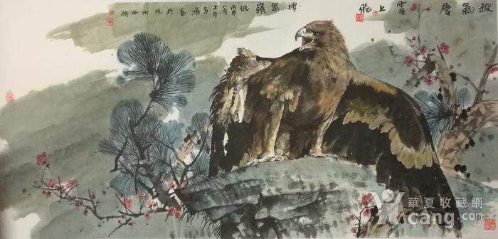 著名花鸟画家 马鸿达 四尺整张苍鹰图1