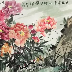 著名花鸟画家 马鸿达 四尺整张牡丹花