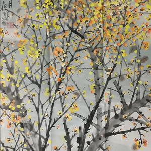 著名花鸟画家 马鸿达 四尺整张松鹤延年腊月寒梅