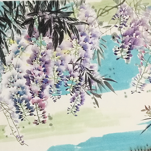 著名花鸟画家 马鸿达 紫藤花