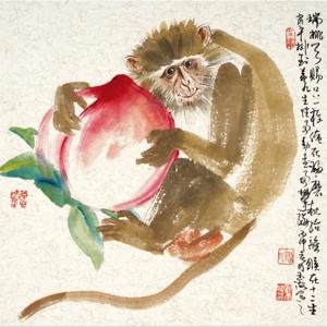 著名人物画家 刘玉海 灵猴献瑞