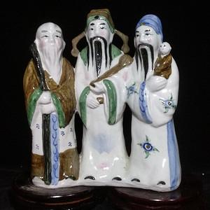 一尊三联体的福禄寿三星醴陵瓷像