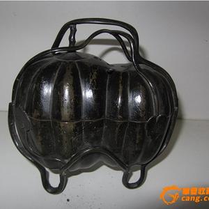明清宣德年制款铜雕瓜形三足香炉27