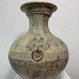 汉 代黄釉返银饕餮辅首大壶