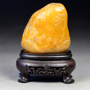 珍品收藏 珍品银裹金田黄石《踏雪寻梅》摆件