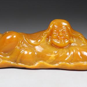 珍品收藏 珍品橘皮田黄石圆雕《罗汉》摆件