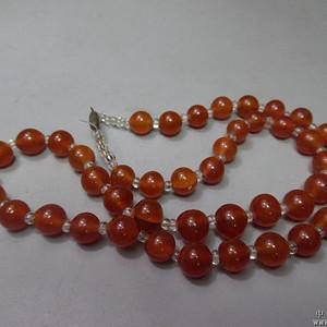 晚清蒙古族橘红玛瑙珠子一串