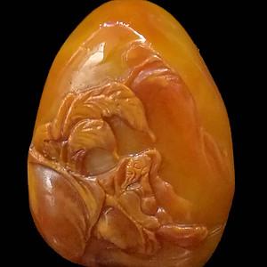 寿山石田黄石薄意浮雕摆件52 石质温润 萝卜纹隐隐可见