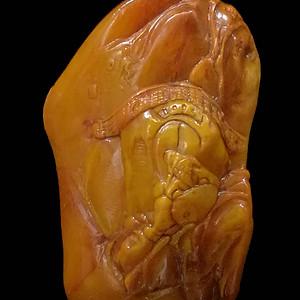 寿山石田黄石薄意浮雕摆件14 石质温润 萝卜纹隐隐可见