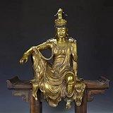 铜鎏金自在观音坐像
