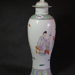 民国35cm三娘教子粉彩大盖罐
