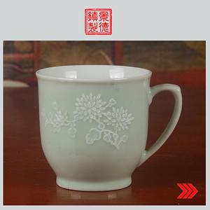 景德镇十大瓷厂老厂货瓷器 绿釉堆白茶杯