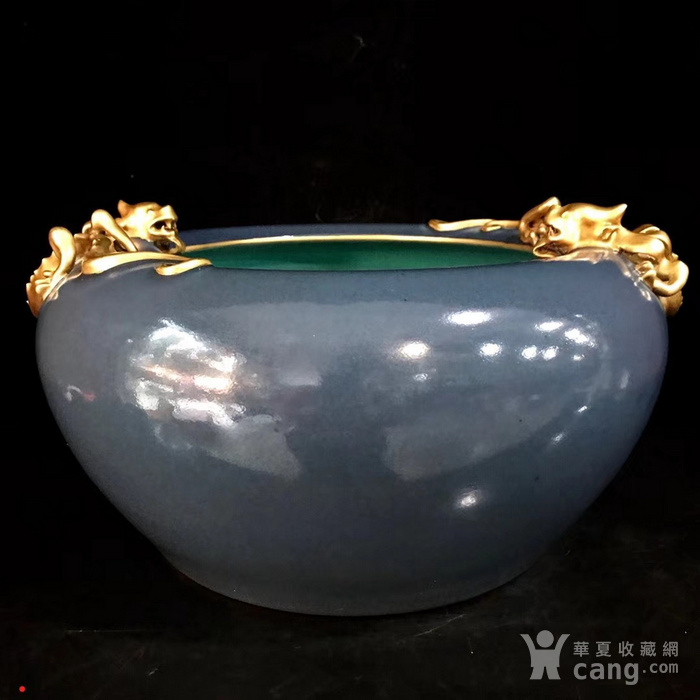 本金单色釉霁蓝釉盘龙笔洗图1