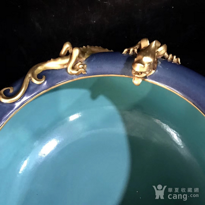 本金单色釉霁蓝釉盘龙笔洗图3
