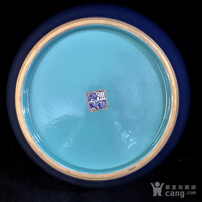 本金单色釉霁蓝釉盘龙笔洗图9