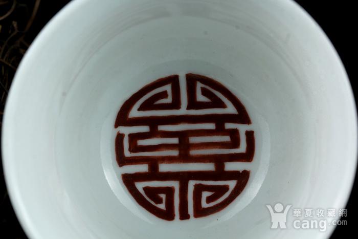 21清乾隆款矾红彩诗词纹钟型杯图7