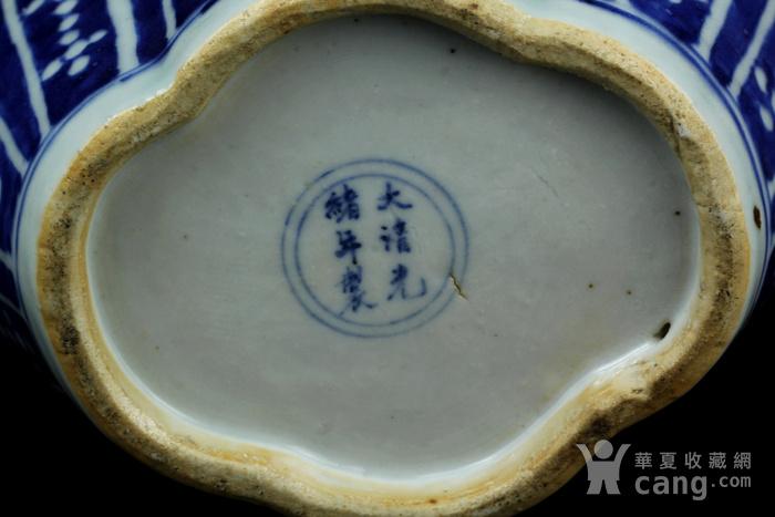 30清光绪青花冰梅开光喜字纹海棠型梅瓶图11