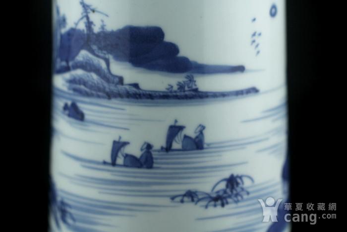 35清康熙青花通景山水人物纹笔筒图7