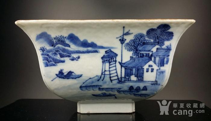 36清乾隆青花通景山水纹方碗图1
