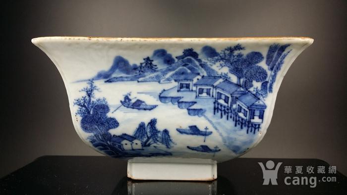 36清乾隆青花通景山水纹方碗图4