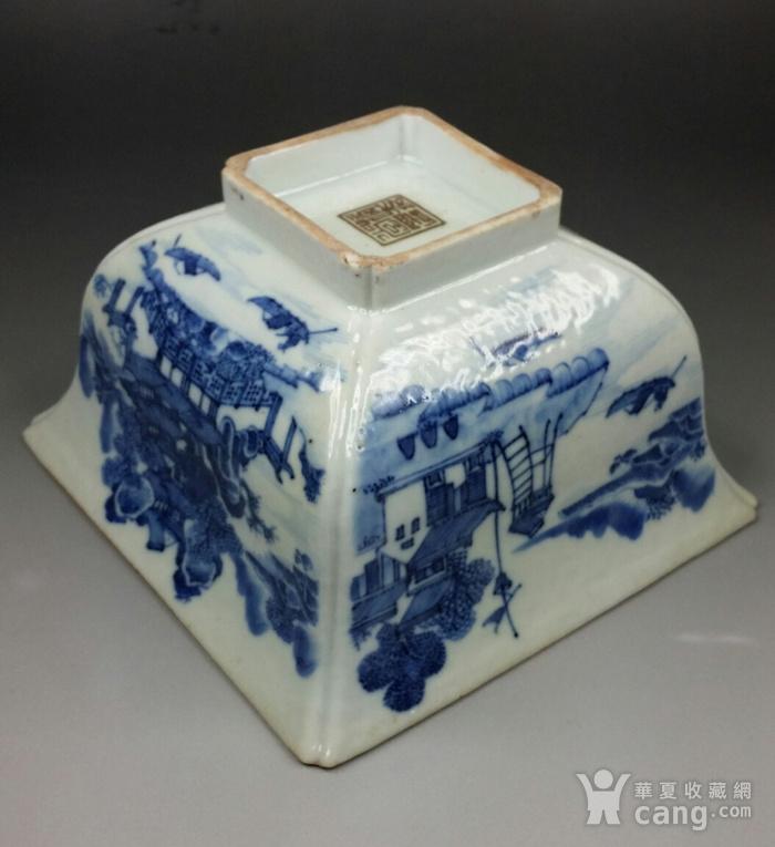36清乾隆青花通景山水纹方碗图9