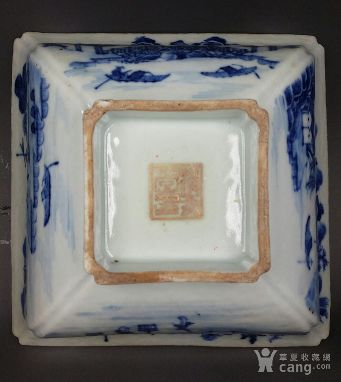 36清乾隆青花通景山水纹方碗图10
