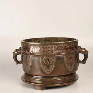 欧亚回流铜造螭龙纹兽面耳香炉