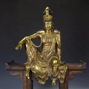 欧亚回流铜鎏金自在观音坐像