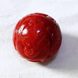 精品 20mm阿卡珊瑚雕刻龙珠 A
