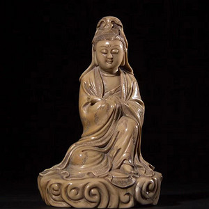 欧亚回流寿山石雕持经观音造像