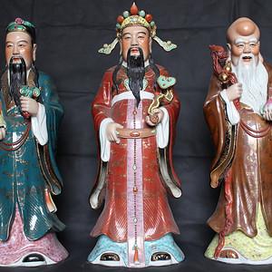 欧亚回流粉彩福禄寿三星雕塑 曾龙升 作
